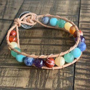 8mm Handmade Leather Rainbow Bead Bracelet